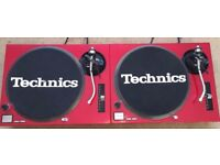2 X Technics SL-1210 MK2 Turntables With Custom Candy Red Covers