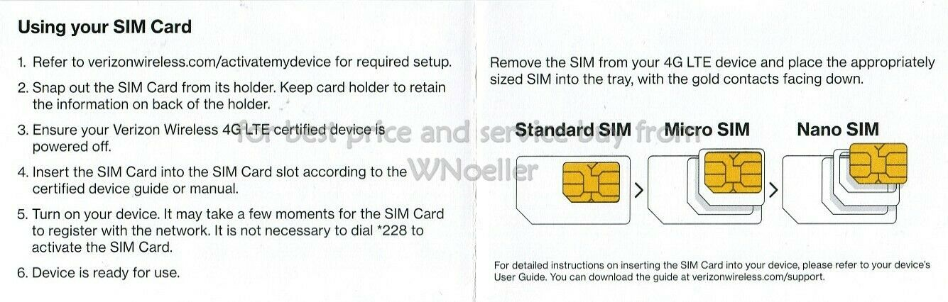 как выглядит NEW UNACTIVATED Verizon Universal nano/micro/std SIM card - prepaid or postpaid фото