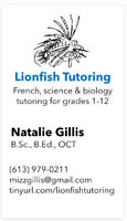 French and science tutoring for Fall 2019