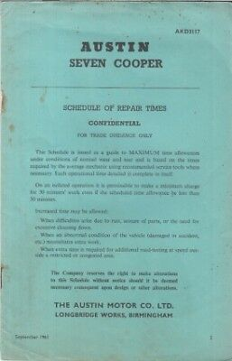 AUSTIN SEVEN (MINI) COOPER ORIG. 1961 FACTORY SCHEDULE OF REPAIR TIMES BOOKLET