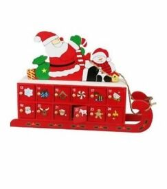Santa's Sleigh Reusable Wooden Advent Calender x 4