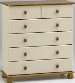 Sale-Sale Richmond cream and pine 2+4 drawers bedroom solid spacious chest of drawers ( BRAND NEW)