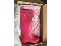JOULES GLOSSY PINK FIELD WELLIES BRAND NEW WITH 1 YEAR JOULES WELLY GUARENTEE SIZE 6