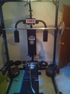 York full squat rack with all bars and 200 pounds of iron weight Cornwall Ontario image 1