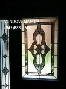 Entry Stained Glass Door Entrance  White