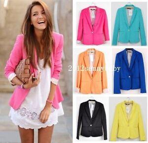 New-Fashion-Candy-Color-Basic-Slim-Foldable-Suit-Jacket-Blazer-XS-S-M-L-6-Colors
