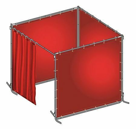 Westward 22Rp04 Welding Booth,6Ft W,6Ft,0.014 In.,Red