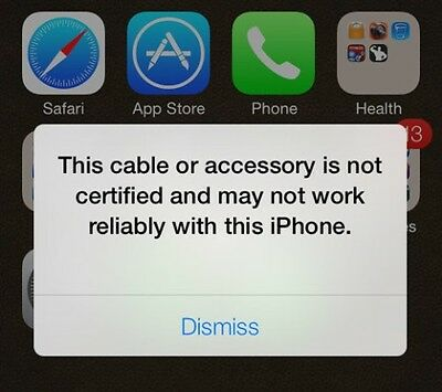 Non Certified and Counterfiet Cable & Accessory Error Messages