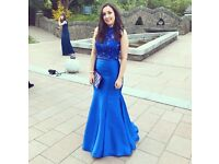 Sherri Hill style royal blue two piece (prom / grad ball dress / gown) diamond top and satin skirt