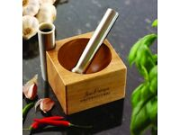 JEAN-PATRIQUE® PROFESSIONAL CHEF'S STAINLESS STEEL PESTLE & WOODEN MORTAR
