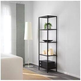 Ikea Shelving Unit Black/Brown Glass