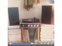 VINTAGE HMV RECORD PLAYER 2025 on legs 1970s teak madmen style modernist MP3 COMPATIBLE