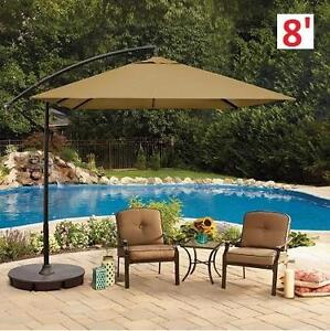 NEW 8u0027 CANTILEVER OFFSET UMBRELLA   131813460   SQUARE NATURAL PATIO HOME  OUTDOOR ADJUSTABLE TILT