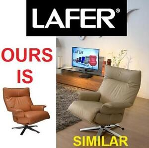 NEW* LEATHER SWIVEL RECLINER  CHAIR LFVA-FC107 143993019 LAFER VALENTINA SADDLE