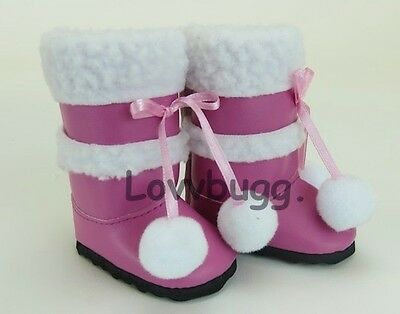 "Lovvbugg Berry Pink Sherpa Trim Boots for 18"" American Girl or Bitty Baby Doll Shoes"