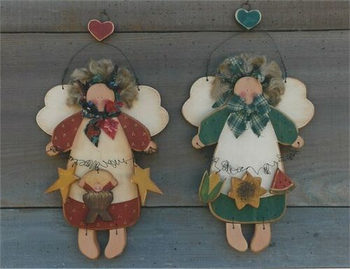 PATTERN Wood Tole Angels Sign Sunflower & Baby Jesus UNCUT OOP Country Faces