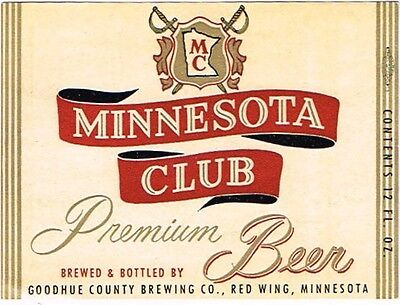 Unused 1950s Goodhue County MINNESOTA CLUB BEER Red WIng Label Tavern Trove
