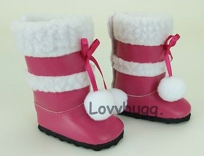 "Lovvbugg Hot Pink Sherpa Trim Boots for 18"" American Girl or Bitty Baby Doll Shoes"