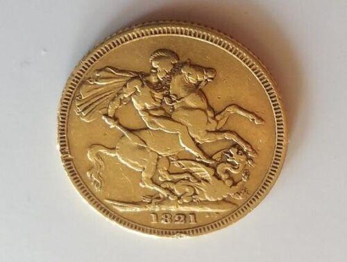 Antique 1821 GREAT BRITAIN Sovereign British Gold Coin 1ST YEAR George IIII Type
