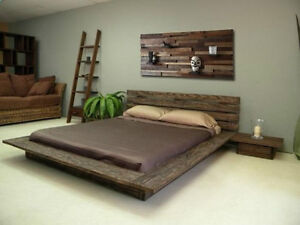 Base de lit en bois de grange double queen king lits for Base de lit double kijiji