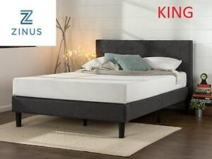 NEW ZINUS KING PLATFORM BED FDPB-K 204476962 Upholstered Diamond Stitched with Wooden Slat Support