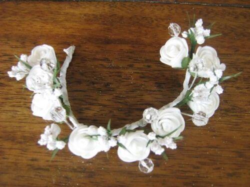 Headdress Flower Wreath Wedding~Handmade~White Schaumröschen #55