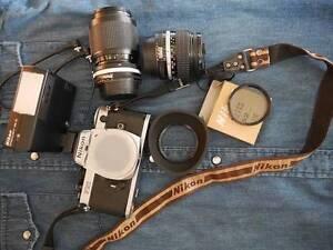Nikon FE2 35mm film camera w/28mm + 35-105mm zoom Hawthorne Brisbane South East Preview