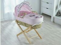 Pink Butterfly Plam moses basket & Free opal Folding stand. Natural pine. Brand new 5 plc left.