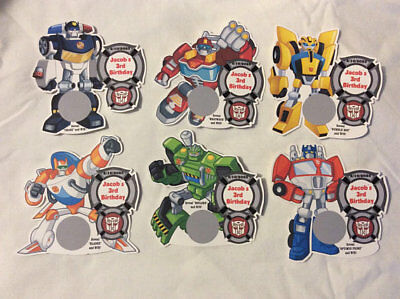 Rescue Bots Party Favors (UNIQUE TRANSFORMERS RESCUE BOTS BIRTHDAY PARTY FAVOR SCRATCH OFF LOTTO GAME)