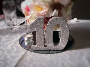 Set of 12 freestanding wedding table numbers in silver glitter Kitchener / Waterloo Kitchener Area image 1