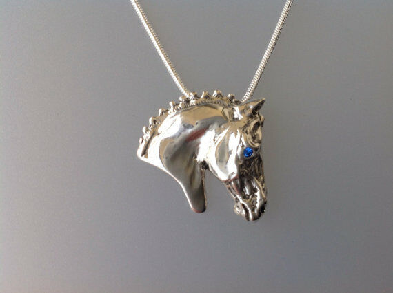 Dressage Horse head Pendant w stone eye Sterling Silver Necklace Jewelry