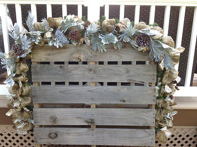 CUSTOM LENGTHS PINE BURLAP GARLAND, MANTLE, RAILING, CHRISTMAS, WINTER DOOR SWAG](Christmas Mantle Garland)