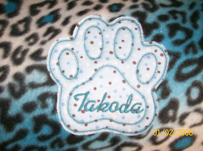 DOG, CAT FLEECE BLANKET PERSONALIZED Handcrafted 36x30in med blue leopard SALE!