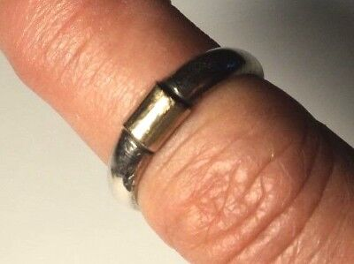 Vintage Unisex Sterling Silver 14K Detail Band Ring Size 6.75 x 4.8mm Wide 3.46g