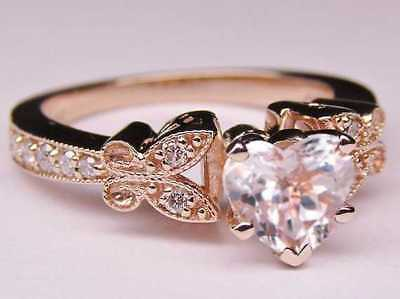 Heart Shape Diamond Butterfly Vintage Engagement Ring Pink Gold - GIA Flawless 1