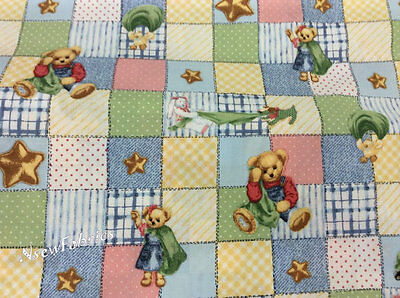 Blue Jean Teddy Bear and Friends Blankie Cotton Quilt Patchwork BTY Rare OOP ()