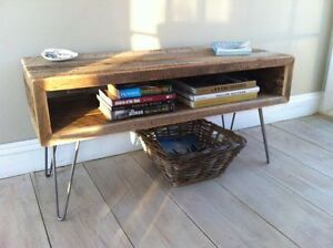 Industrial wood and hair pin leg table