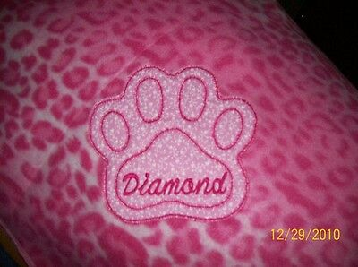 PET DOG CAT FLEECE BLANKET PERSONALIZED Handcrafted 36x30 in medium pink leopard