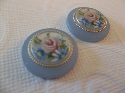Vintage Cameos 18mm Round Cabochons Floral Roses Matte Crystal Blue German Qty 2