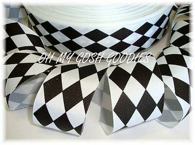 1.5 BLACK WHITE JESTER HALLOWEEN CHEER GROSGRAIN RIBBON FOR HAIRBOW BOW - Halloween Cheer Bows