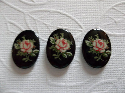 Pink Rose on Black Cameos Vintage Decal Picture Stones 18X13mm Glass Cabochons