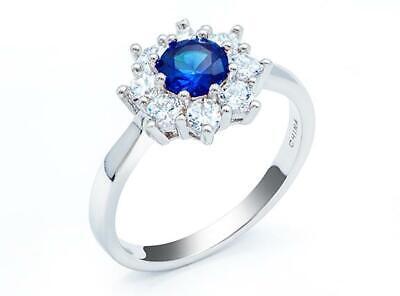 Platinum Sterling Silver Blue & White Sapphire Flower Design Round Halo Ring Sz7