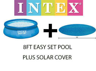 INTEX LARGE INFLATEABLE SWIMMING POOL EASY SET 8FT ABOVE GROUND C/W SOLAR COVER