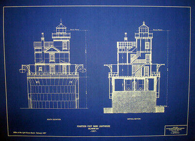 Fourteen Bank Lighthouse 1887 blueprint plan drawing 18x22  (237)