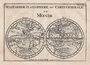 antique map mapemonde planisphere ou carte generale du monde ebay. Black Bedroom Furniture Sets. Home Design Ideas