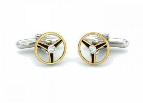 Natural Diamond Cufflinks Pure 925 Solid Sterling Silver 18kGold Plated Handmade