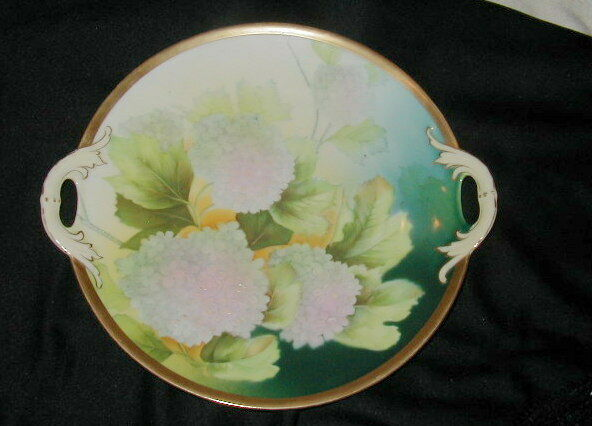 OLD BAVARIAN PORCELAIN SERVING TRAY, CAKE PLATE, BOLD HYDRANGEA DECORATION, WOW