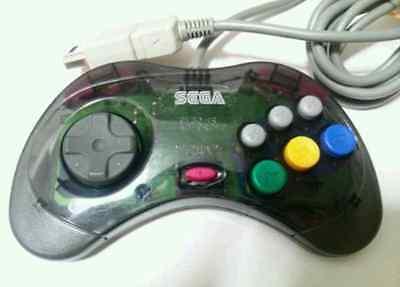 F/S Sega Saturn SS Clear Black Controller Cool Pad Skeleton HSS-0101 Japan Used