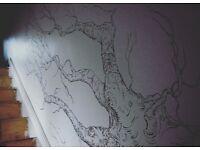 Bespoke hand drawn interior mural artist available
