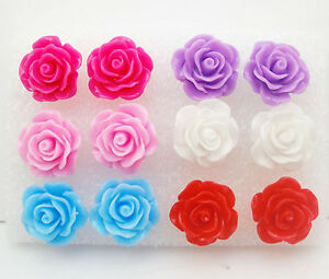 12PCS X Rose Stud Earring Mixed Color Flower Wholesale Lot Nickel Free--NEW002